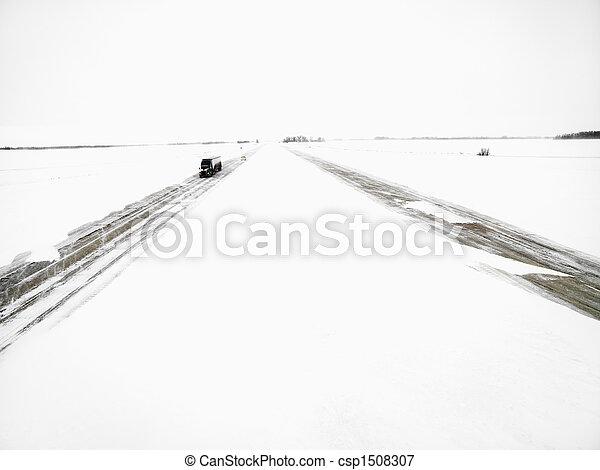 Highway in a winter storm. - csp1508307