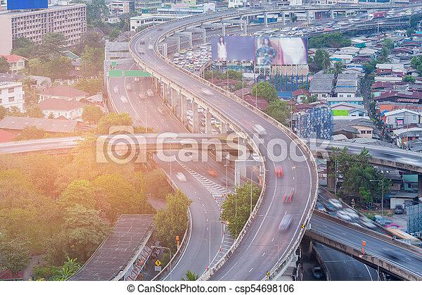 Highway interchange aerial view - csp54698106