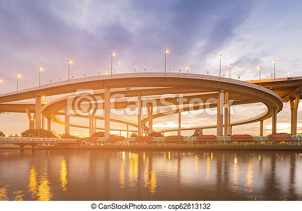 Highway intersection river front night view - csp62813132