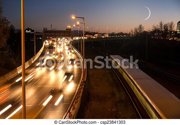 highway, moon and stars - csp23841303