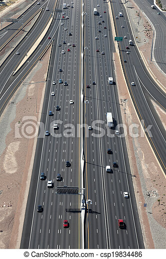 Highway or Freeway in the US from above - csp19834486