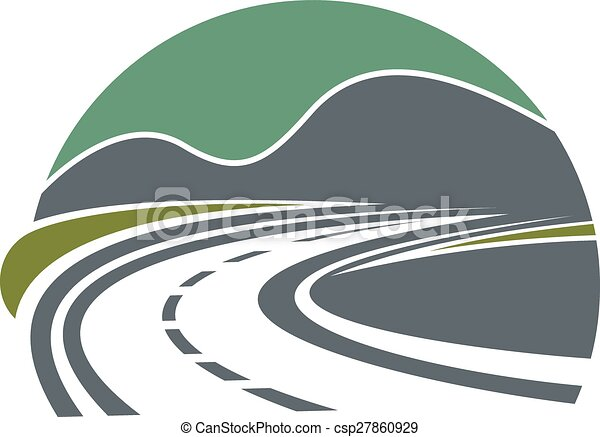 Highway or road disappearing near mountains - csp27860929