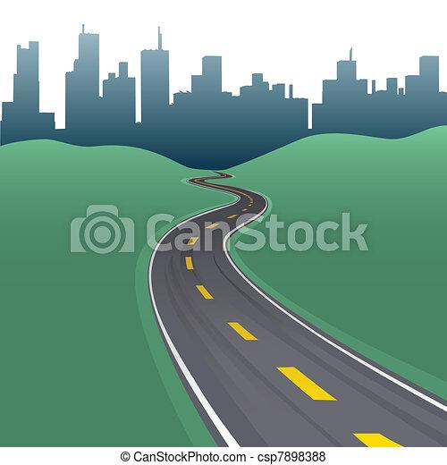 Highway path curve city buildings skyline - csp7898388
