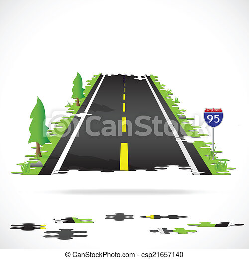 Highway Puzzle Illustration - csp21657140