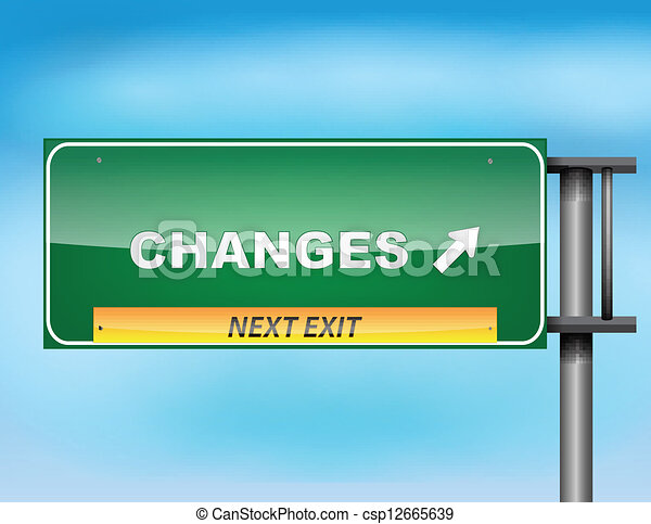 """Highway sign with """"Changes"""" text - csp12665639"""