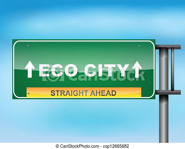 """Highway sign with """"Eco City"""" text - csp12665682"""