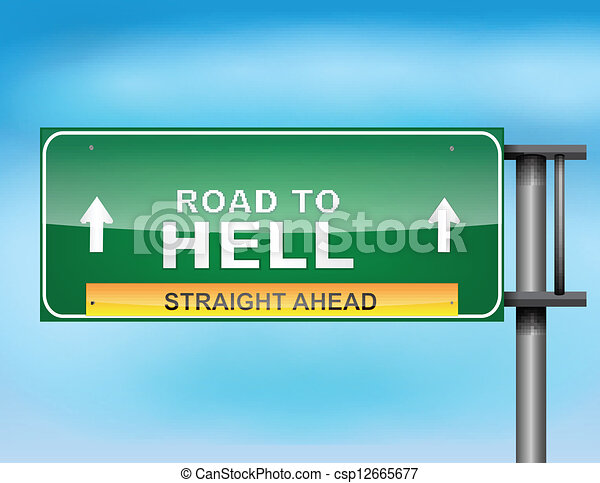 "Highway sign with ""Road to Hell"" text - csp12665677"