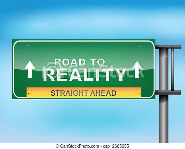 "Highway sign with ""Road to Reality"" text - csp12665655"