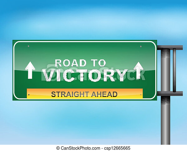 "Highway sign with ""Road to Victory"" text - csp12665665"