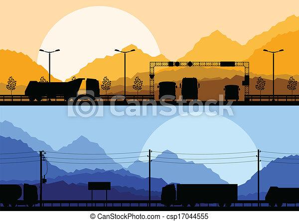Highway truck wild nature landscape background vector - csp17044555