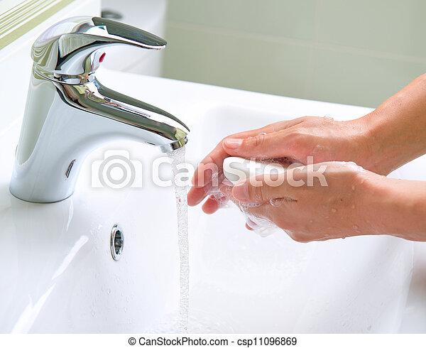 higiene, lavando, limpeza, hands. - csp11096869