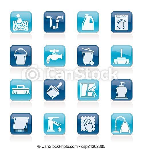 higiene, limpeza, ícones - csp24382385