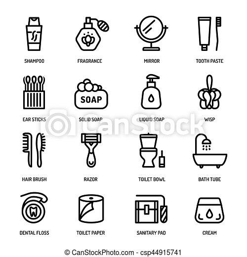 Higiene Pessoal Icones Corporal Banheiro Linear Pessoal