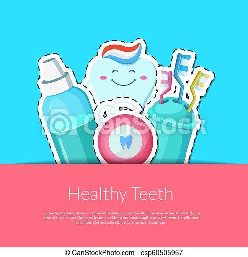 Las pegatinas de los dientes de Vector - csp60505957