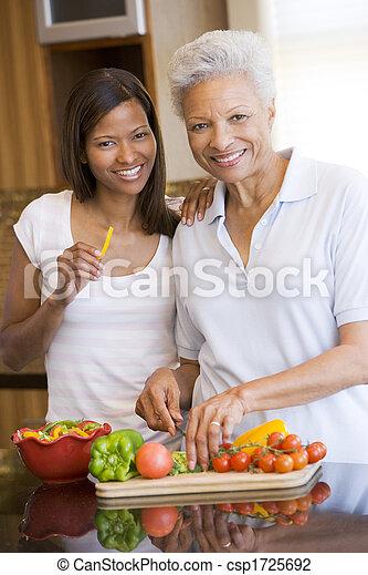 Madre e hija preparando la comida, comida juntos - csp1725692