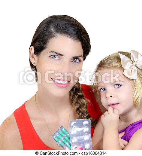 Retrato de la feliz madre con su hija - csp16004314