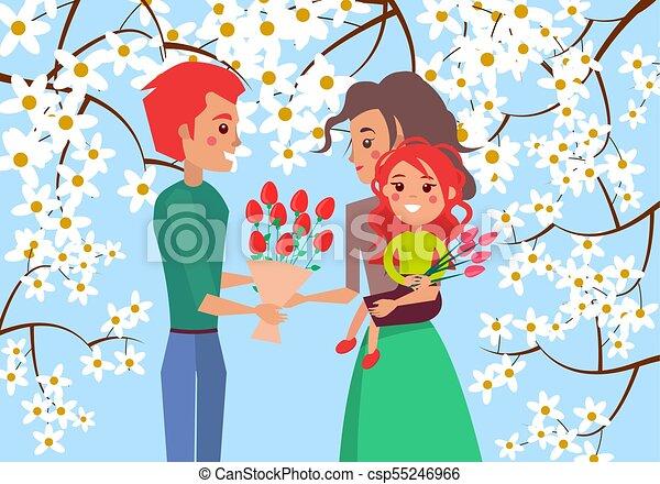 Padre da bouqet de tulipanes a esposa e hija - csp55246966