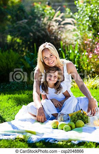 hija, picnic, teniendo, madre - csp2048866