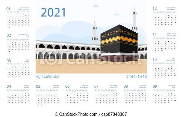 Hijri Calendar 2022.Hijri Islamic Calendar 2021 From 1442 To 1443 Vector Template Hijri Islamic Calendar 2021 From 1442 To 1443 Vector Canstock