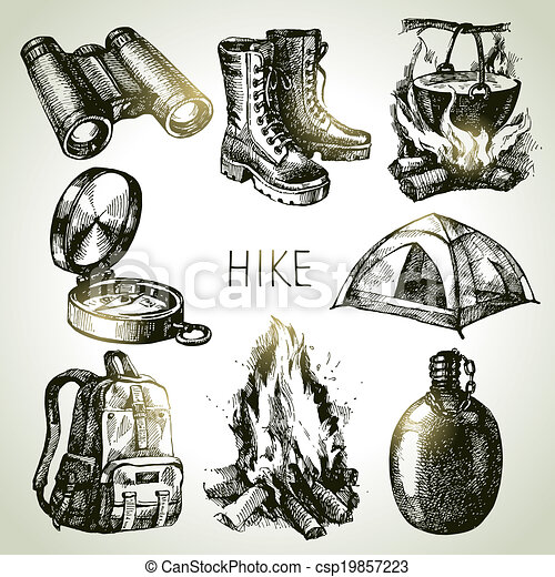 Hike and camping tourism hand drawn set. Sketch design elements - csp19857223