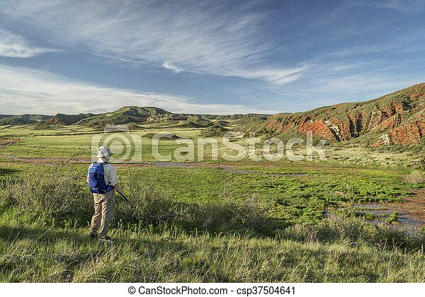 hiker at Colorado foothills - csp37504641