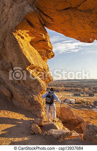 hiker at Devils Backbone - csp13937684