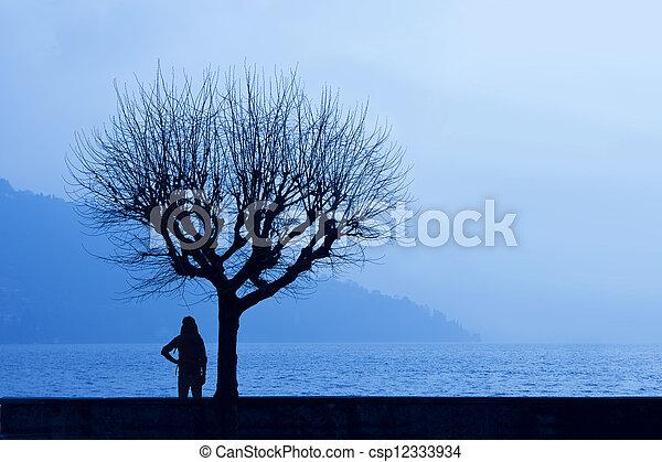 hiker, lago, lado - csp12333934