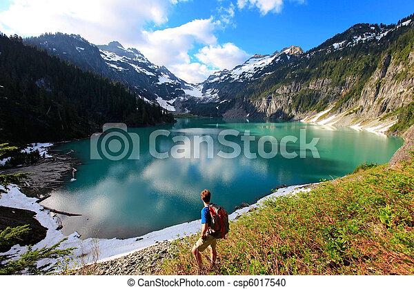 Hiker on the Blanca Lake - csp6017540