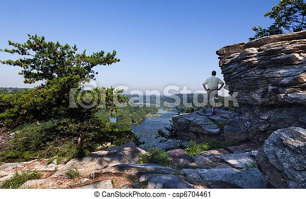 Hiker overlook Harpers Ferry landscape - csp6704461