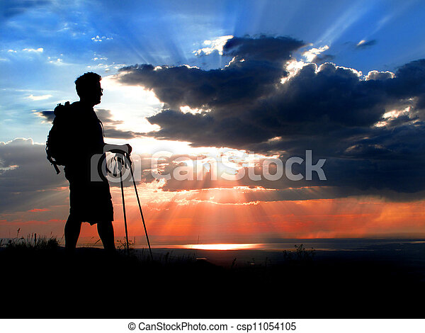 hiker, silueta, pôr do sol - csp11054105