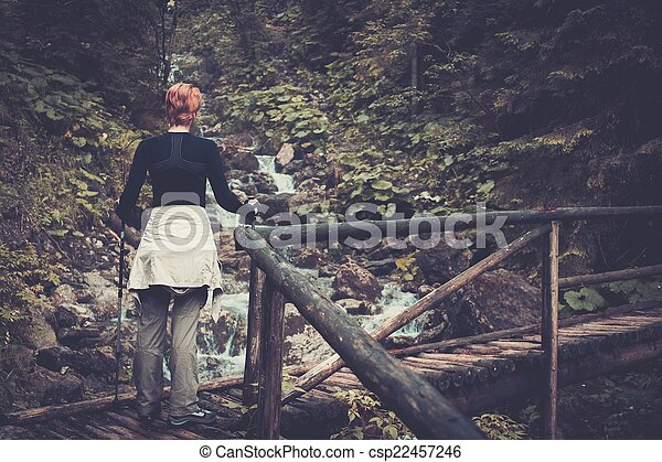 Hiker with hiking poles walking over wooden bridge in a forest - csp22457246