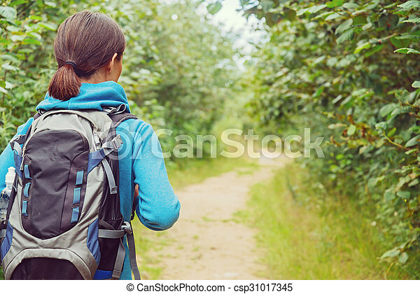 Hiker woman with backpack, rear view - csp31017345