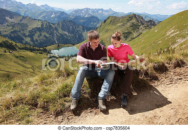 Hikers in the Alps - csp7835604