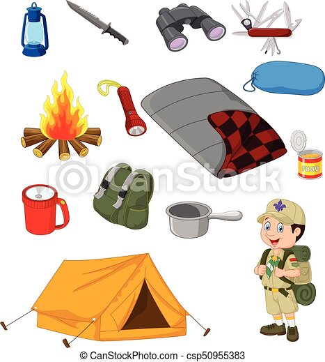 Hiking Camping Equipment Base Camp Gear And Outdoor Accessories Vector