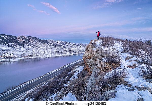 hiking Colorado before sunrise - csp34130483