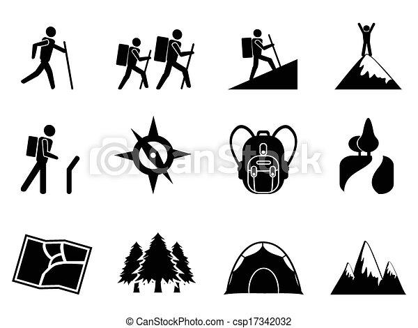 hiking, ikony - csp17342032