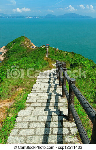 Hiking path surrounded by the sea  - csp12511403