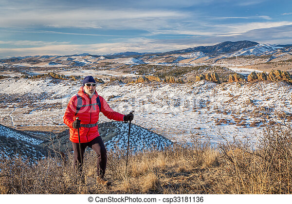 hiking Rocky Mountains foothills - csp33181136