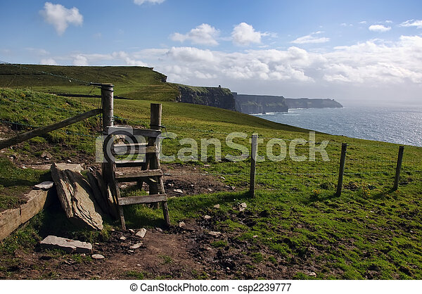 hiking walking trail by sea cliffs and ocean  - csp2239777
