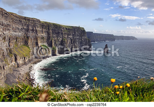 hiking walking trail by sea cliffs and ocean  - csp2239764