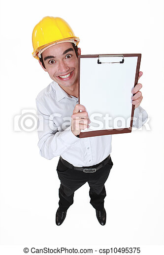 hilarious craftsman holding clipboard - csp10495375
