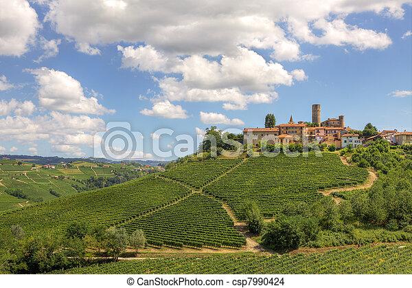 Hills and vineyards of Piedmont, Italy. - csp7990424