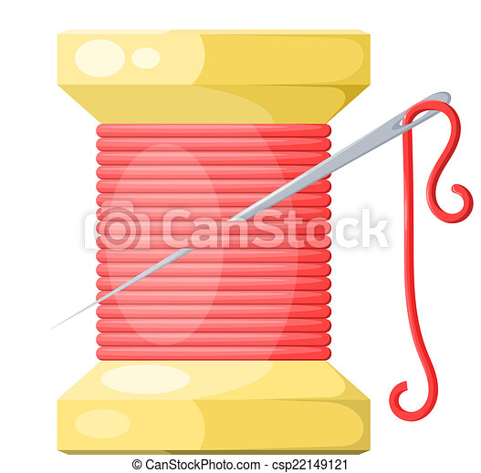 Un carrete de hilo y aguja roja con reflejos y sombras. Isol - csp22149121