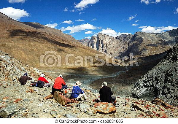 himalaya, trekkers - csp0831685