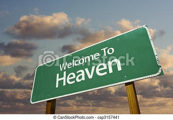 himmel, grün, straße, willkommenes zeichen - csp3157441