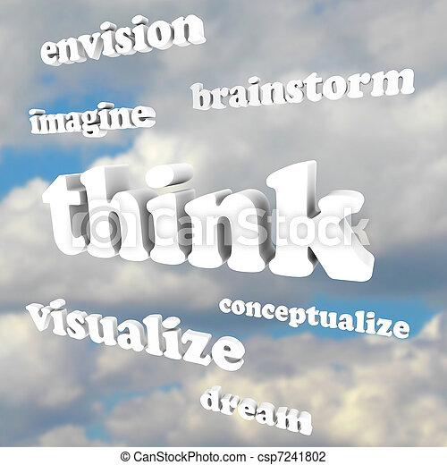 Denken Sie an Worte im Himmel - stellen Sie sich neue Ideen und Träume - csp7241802