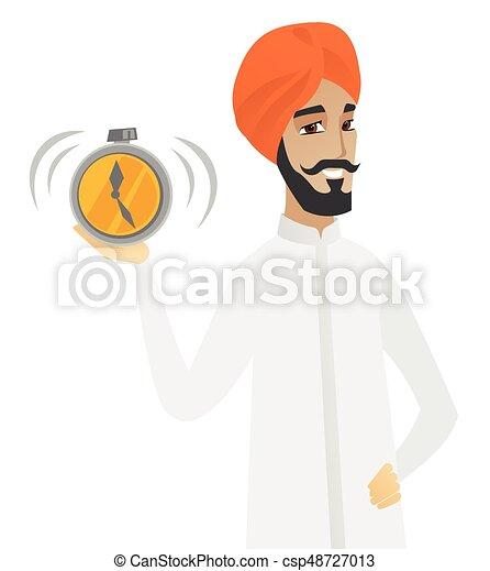 Empresario hindú con despertador. - csp48727013