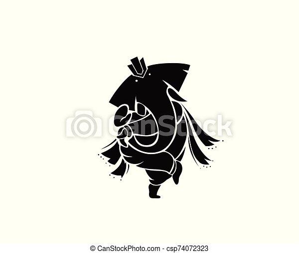 Hindu God Ganesha - elephant. Vector hand drawn illustration. - csp74072323