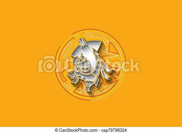 Hindu God Ganesha - elephant. Vector hand drawn illustration. - csp79798324