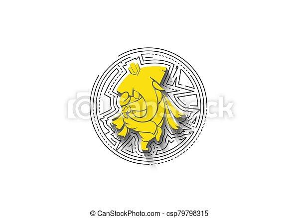 Hindu God Ganesha - elephant. Vector hand drawn illustration. - csp79798315